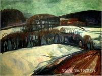 modern colorful paintings Das rote Haus im Schnee by Edvard Munch High Quality Hand painted