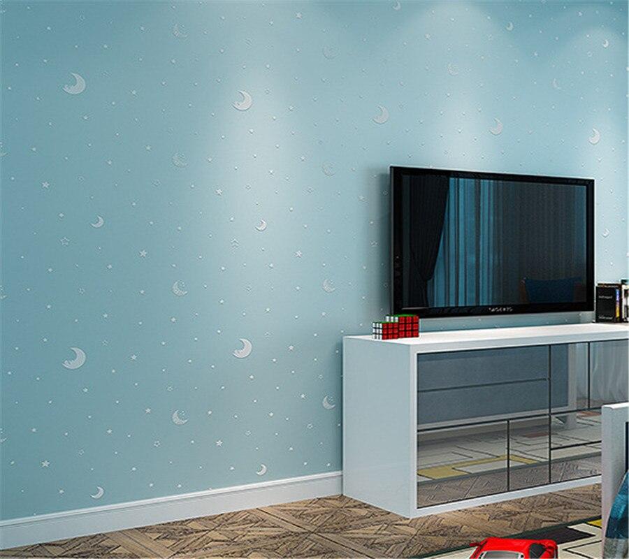 Beibehang wallpaper 3D blue star moon light wallpaper ...