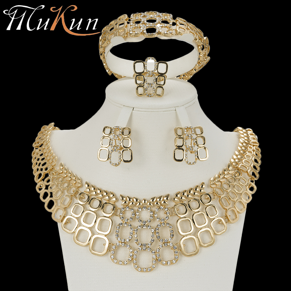 MuKun wedding jewelry dubai gold jewellery sets for women fashion indian bridal jewelry sets crystal gold color sets earrings jewellery