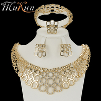 MuKun wedding jewelry dubai gold jewellery sets for women fashion indian bridal jewelry sets crystal gold color sets earrings