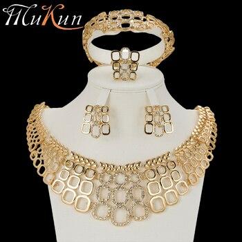 ef0f1a6c5efe MuKun joyería de boda Dubái conjuntos de joyas de oro para mujer conjuntos  de joyería de novia india de moda conjuntos de aretes de oro de cristal