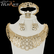 MuKun wedding jewelry dubai gold jewellery sets for women fashion indian bridal jewelry sets crystal gold color sets earrings недорого
