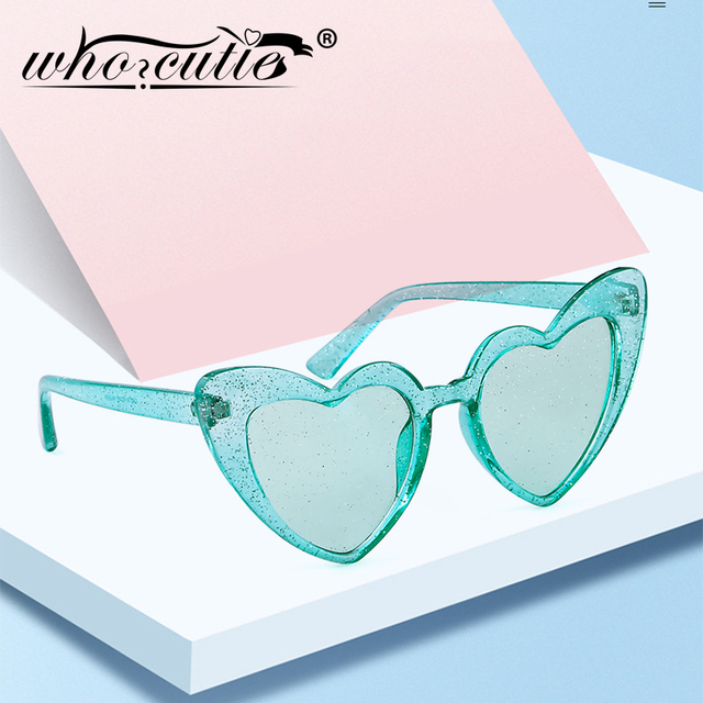 18cd86da41 WHO CUTIE 2019 Women Sunglasses Glitter Heart Shape Shiny Lens Spring Brand  Designer Girls Funny Sun