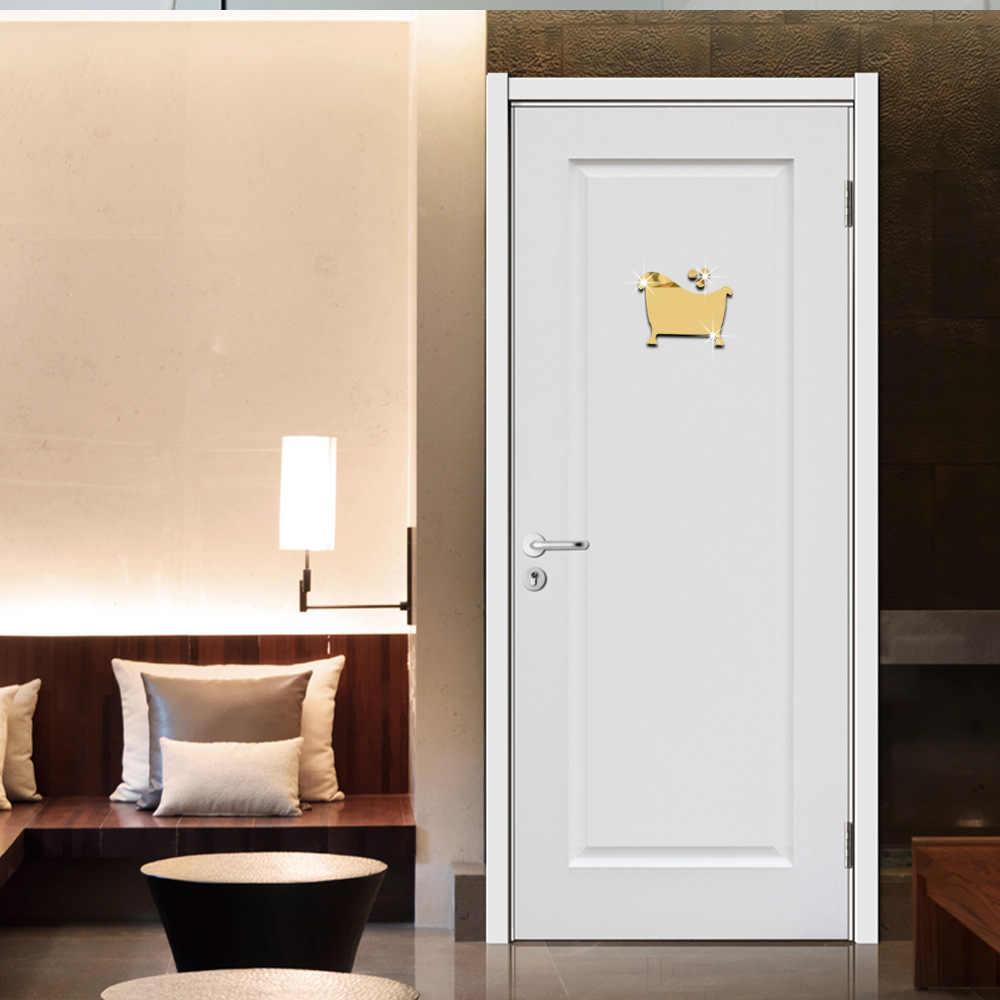 3D Moda Akrilik Ayna Yüzey Duvar Sticker Tuvalet Banyo için Tabela Dekorasyon 3 Stil Altın Gümüş Renk Çıkarılabilir