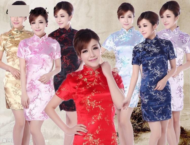 Черный-красный Традиционной Китайской Платье женская Атласная Длинные Холтер Cheongsam Qipao Mujere Vestido Цветок Свадьба Cheongsam Для Женщин