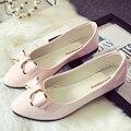 Sapatos de borracha mulher zapatos mujer butterfly-nó sólida schuhe damen de superstar sapatos dedo apontado slip-on sapatos de metal decoração