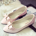 Shoes woman rubber solid zapatos mujer butterfly-knot superstar shoes pointed toe schuhe damen slip-on shoes metal decoration