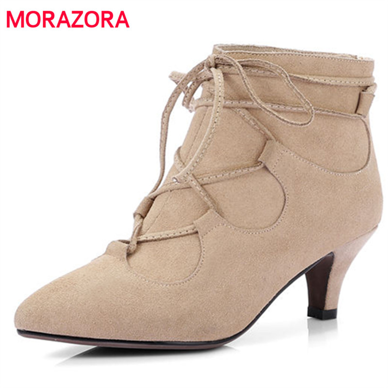 MORAZORA 2018 new fashion square toe cow suede leather boots sexy high heel women boots zipper stiletto heel ankle bootsMORAZORA 2018 new fashion square toe cow suede leather boots sexy high heel women boots zipper stiletto heel ankle boots