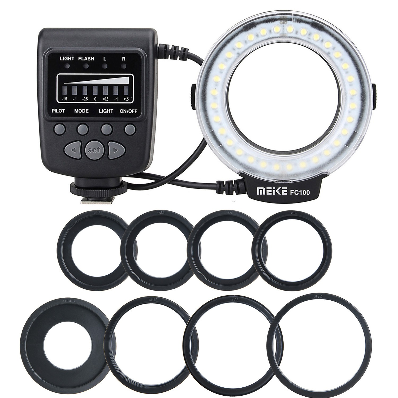 Meike FC-100 FC100 Macro Ring Flash Light para Nikon Canon EOS 650D 7D 550D 600D 60D T3i T4i para Nikon D5300 D5200 D7000 D90 etc
