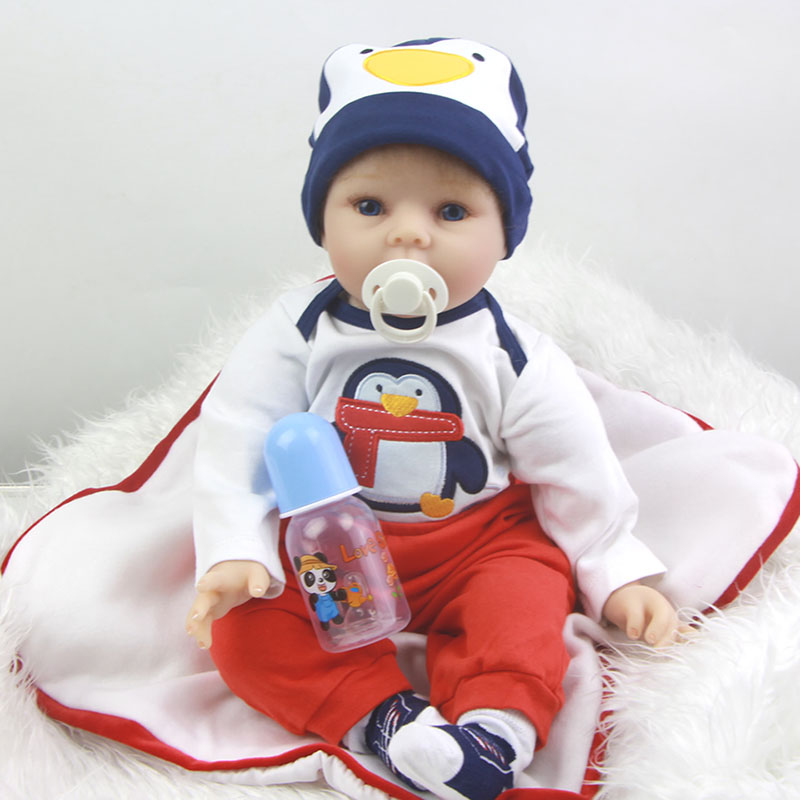22 Suck Pacifier Realistic Soft Silicone Reborn Baby Doll Newborn Baby with Mohair Doll Dressed Penguin