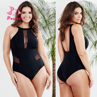 PACENT Sexy Solid One Piece Swimsuits Black Monokini High Neck Swimming Suits for Women Mesh Bodysuit Large Size Swimwear Female
