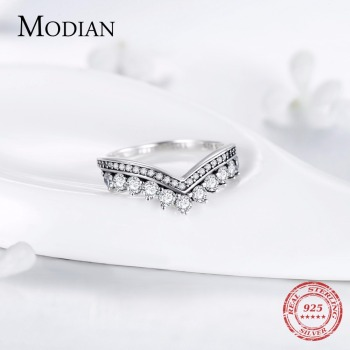 Modian Fashion 100% Real 925 Sterling Zircon Crown Finger Ring Classic Stackable Silver Jewelry For Women Wedding Christmas Gift 3