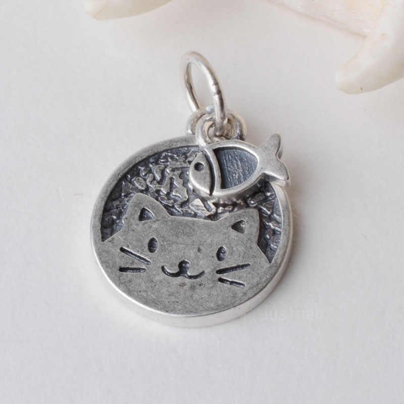 Stałe 925 Sterling Silver kotek z mały wisiorek z rybą urok, tajski srebrna podkładka dystansowa paciorek charms dla biżuteria srebrna