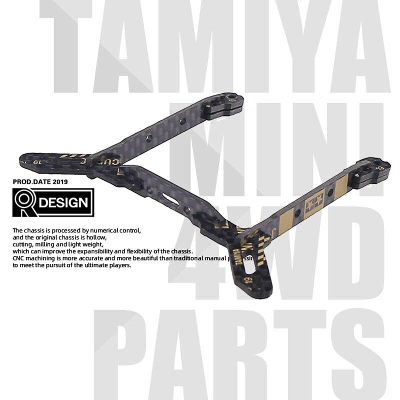 Nouveau 2019Y 95122 CNC deuxième processus en Fiber de carbone Center arrière entraînement avant plaque de renfort Support f Tamiya Mini 4WD voiture