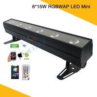 (2Pcs/Lot) Smart Phone APP Control Wireless 6*15W Mini DJ LED RGBWAP Rechargeable Battery Uplighting Wall Wash Bar Stage Light
