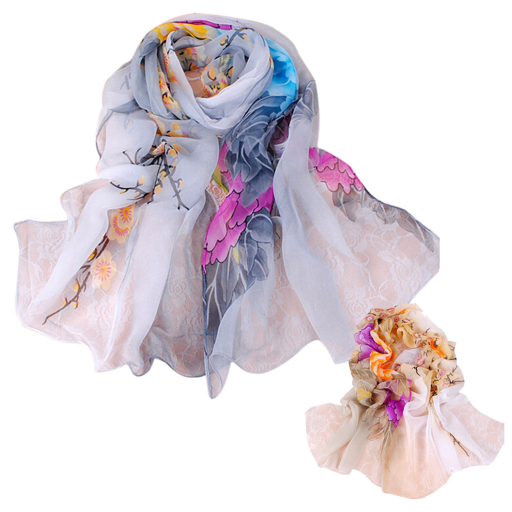 KANCOOLD women   scarf   socks Women silk   scarf   Ladies Chiffon Floral   Scarf   Soft   Wrap   Long Shawl coat women Style p APR9