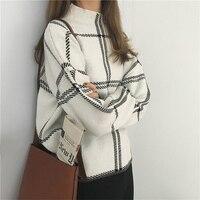 Women's Sweater 2019 Autumn Winter New Plaid Pullovers Elegant Femme Knitted Turtleneck Long Sleeve Sweater Women Knitwear Mujer