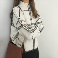 2019 Autumn Winter New Plaid Pullovers Sweaters Women Elegant Knitted Turtleneck Long Sleeve Sweater Female Knitwear Mujer