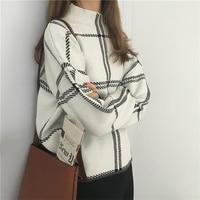 Sweaters Women 2019 Autumn Winter New Plaid Pullovers Elegant Knitted Turtleneck Long Sleeve Sweater Female Knitwear Mujer