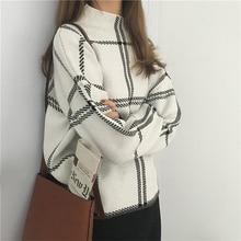 Swetry damskie dzianinowy z golfem z długim rękawem Plaid swetry jesień zima elegancki Femme sprawdzony sweter kobiet dzianiny Mujer