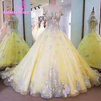 Vestidos De Novia Yellow Off The Shoulder Ball Gown Wedding Dresses Plus Size Lace Appliques Wedding
