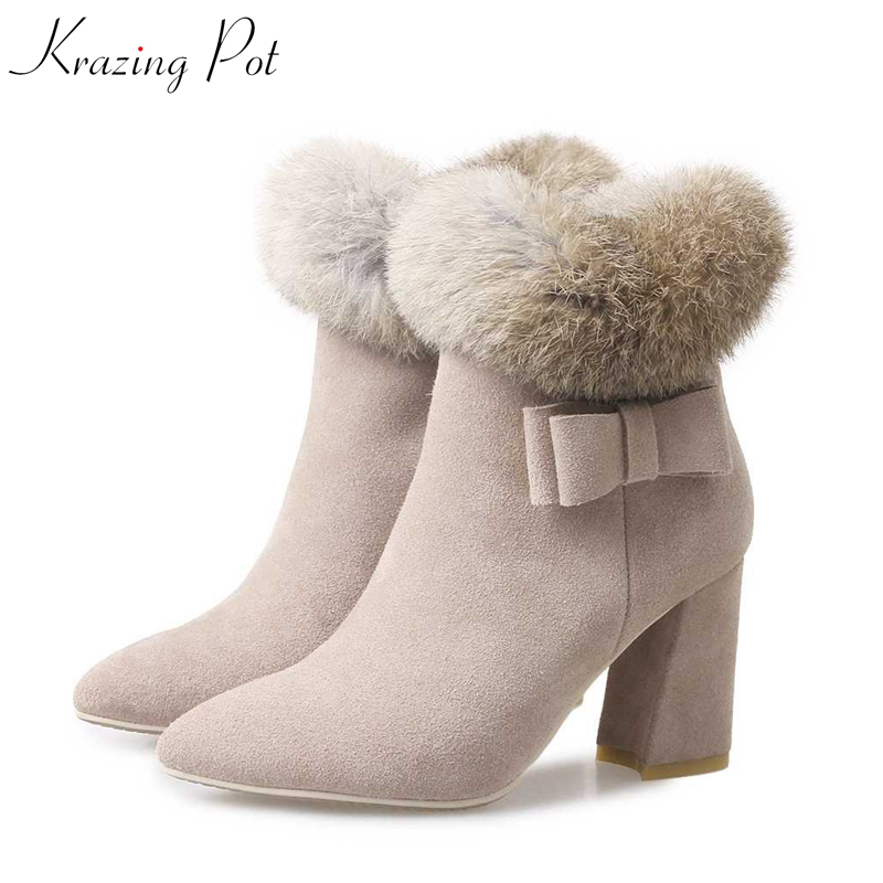 Krazing Pot cow suede real fur rabbit hair solid women pointed toe dowager high heels zipper punk style bowtie ankle boots L68