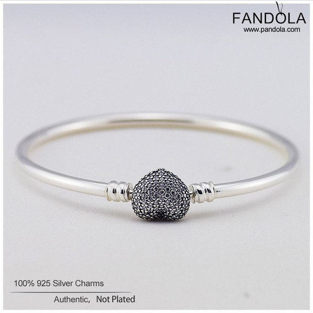 100% 925 Sterling-SIlver-Jewelry Pave Heart Bangles with Clear CZ Charm Bracelets For Women Fits European Famous Brand Jewelry