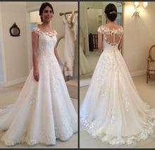 New Bridal Dress 2019 Cap Sleeves Wedding Dresses Buttons Back Bridal Gown Dresses For Bride Superbweddingdress