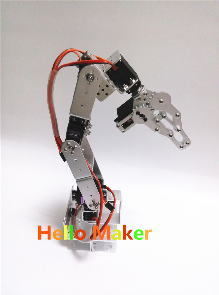 US $150 02 15% OFF|Hello Maker H335 Industrial Robot Mechanical Arm 100%  Alloy Six degrees of freedom Robot Arm Rack with 6 Servos-in Parts &