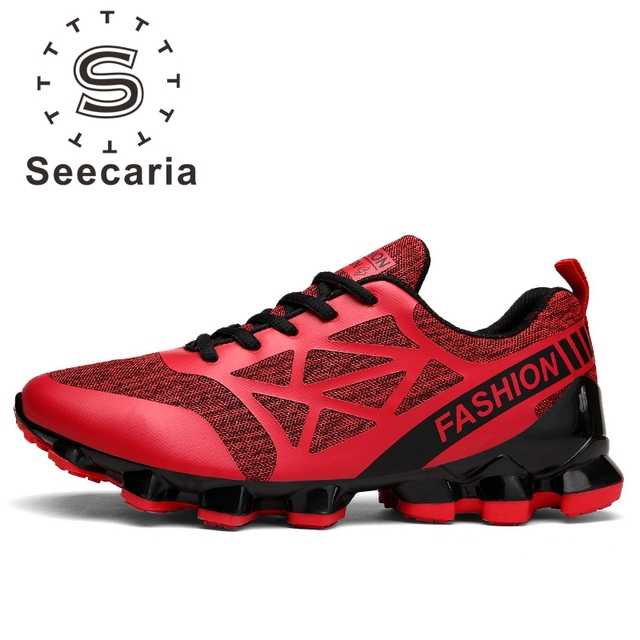 Free Shipping Seecaria Brand Men Running Shoes Men's Springblade Sneaker  Sports Shoes Lace-Up Max