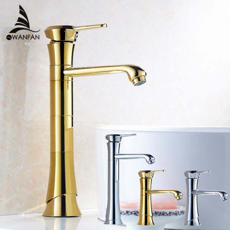 Bathroom Basin Faucet Golden Polished Modern Sink Taps Deck Mounted Vessel Single Lever Faucets Washbasin Hot Cold Mixer Tap free shipping single lever wall mounted vessel basin sink faucet mixer tap black color