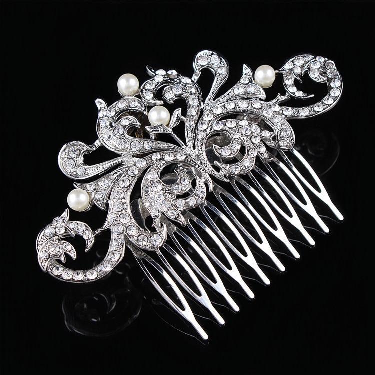 Hair font b Jewelry b font For Women Rhinestone Crystals Glittering Imitation Pearls Hair Comb Wedding