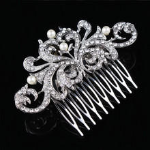 Hair Jewelry For Women Rhinestone Crystals Glittering Imitation Pearls Hair Comb Wedding Jewelry Bridal Hair Accessories