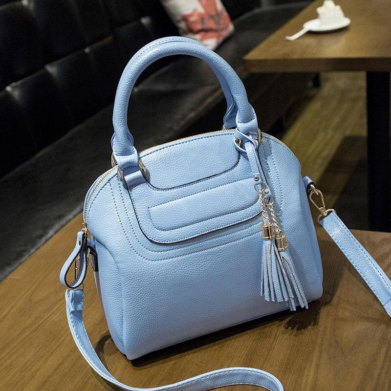 New Fashion Tassel Ladylike Shell Bag Women Sweet Style Plain font b Handbag b font Designer