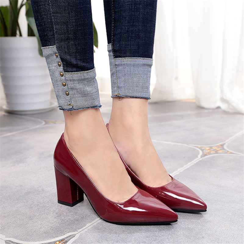 2019 New Women Pumps Black High <font><b>heels</b></font> 7.<font><b>5cm</b></font> Lady Patent leather Thick with Autumn Pointed Single Shoes Female Sandals Big 33-43 image