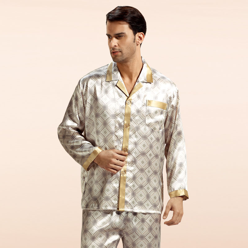ec5c83ad85 Wholesales Pure Silk Satin Sleepwear Sale Long Sleeve Men Pyjamas Pajama  Sets Pants 100% Natural Silk Pajamas Set YE0019-in Pajama Sets from Men s  Clothing ...