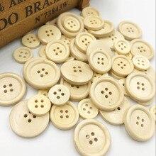 Горячая 50 шт./компл. разнообразные деревянные пуговицы натуральный Цвет круглый 4-отверстия швейные Скрапбукинг DIY кнопки швейной фурнитуры WB534