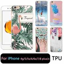 QMSWEI TPU Clear Phone Case For iPhone 6G 6s 7 8plus x Soft Flamingo Pineapple Flora Printed Cover For iPhone 4 5se 6Plus 7P(China)