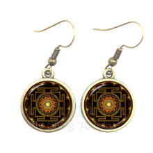 Drop shipping Fashion Buddhist Sri Yantra Earrings Sacred Geometry Sri Yantra Jewelry For Women 2018(China)