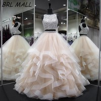Sprkly Two Pieces Champagne Quinceanera Dresses 2018 Backless Ball Gown Prom Dresses Layered Beaded Crystal Sweet 16 Dresses