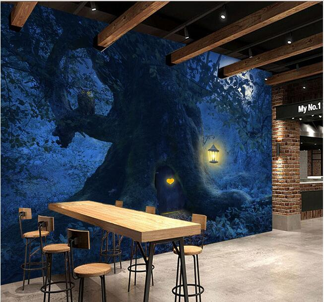 3d wallpaper custom mural non-woven 3d room wallpaper Forest trees moonlit landscape setting wall 3d wall murals wallpaper mural wallpaper 3d home decoration cherry trees 3d wallpaper living room ceiling non woven wallpaper ceiling