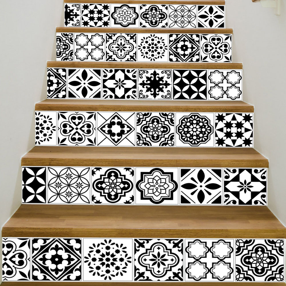 Surprise price Removable Pvc Classic Black White Ceramic Pattern Tile Stairs Wall Waterproof Mural Poster Room Stairway Sticker