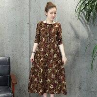 New Arrive Female Long Sleeved Cotton And Linen Dress Big Yards Split Print Dress Women S