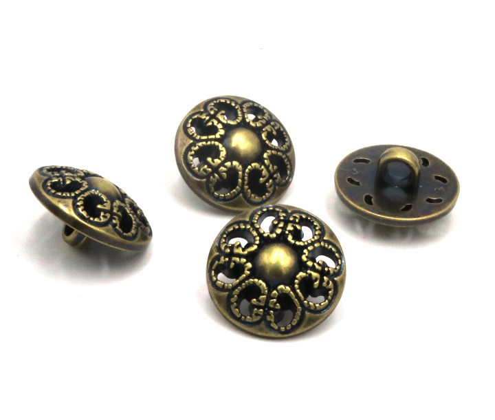 18mm Sewing Accessories Botones Decorative Buttons bronze flower hollow Coat Button Sweater 50 Pcs