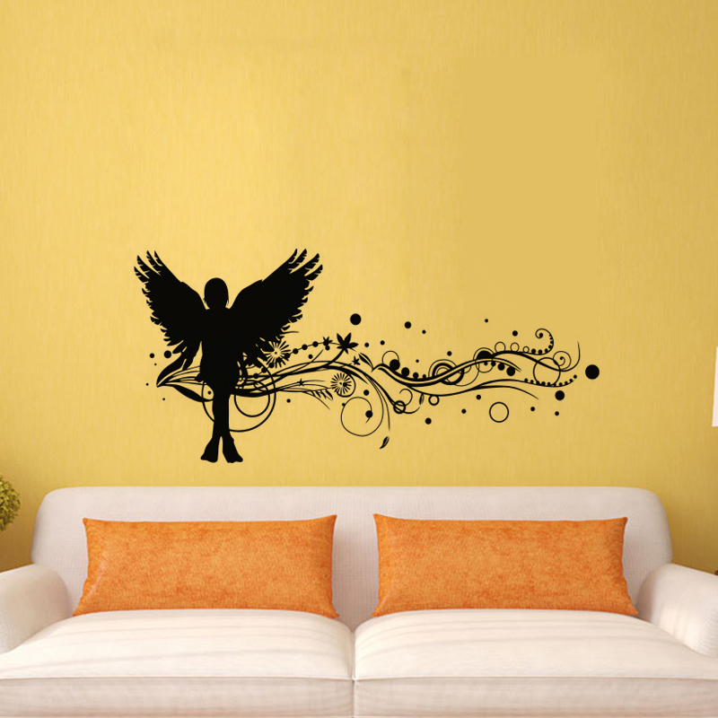 Angel with Wings Wall Decal Florals Pattern Stickers Removable Home ...
