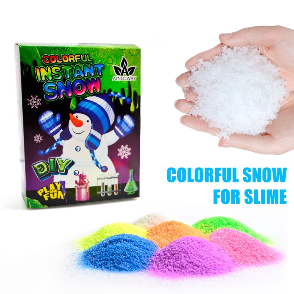 Colorful Artificial Snow Slime Funny Magic Toy Instant Snow Fluffy Snowflake Absorbant Navidad Christmas Decorations Kids Gift