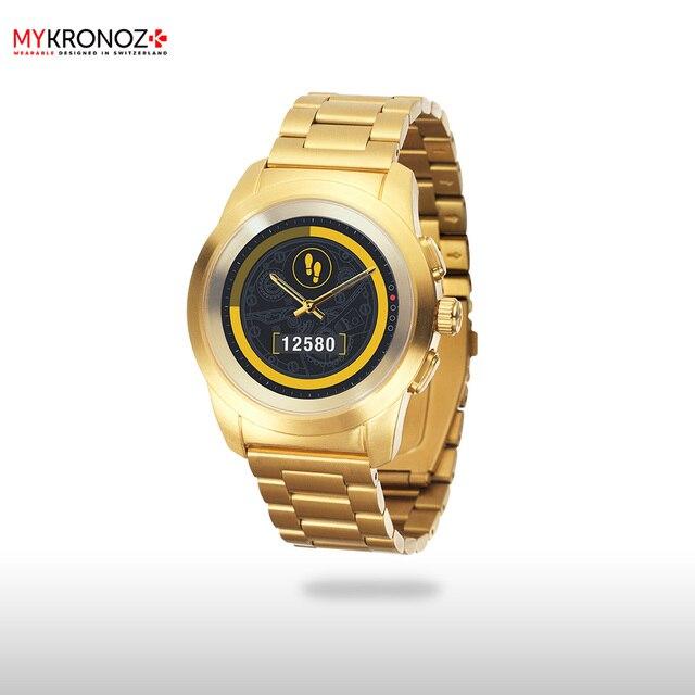 Смарт часы MyKronoz гибридные ZeTime Elite Petite мозаичный металлический ремешок цвет желтое золото
