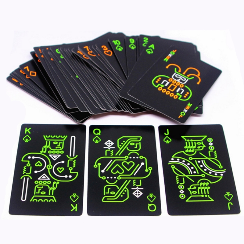 Quality Black Night Luminous Fluorescent Poker Cards Set Trend 54pcs Deck Poker Classic Magic Tricks Tool Pure Black Magic image