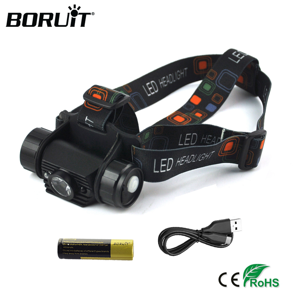 BORUiT Motion Sensor Mini Headlamp High Power XPE 1000LM LED Headlight 18650 Rechargeable Head Torch Camping Hunting Flashlight