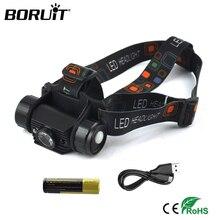 BORUiT RJ 020 XPE LED Mini far 1000LM hareket sensörü far şarj edilebilir 18650 su geçirmez baş feneri kamp avcılık için